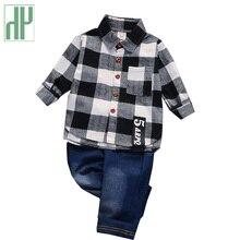 Children clothes Cotton plaid T-Shirt +denim Pants 2 Pcs Sport Suit kids boys Set casual spring toddler outfits Costumes