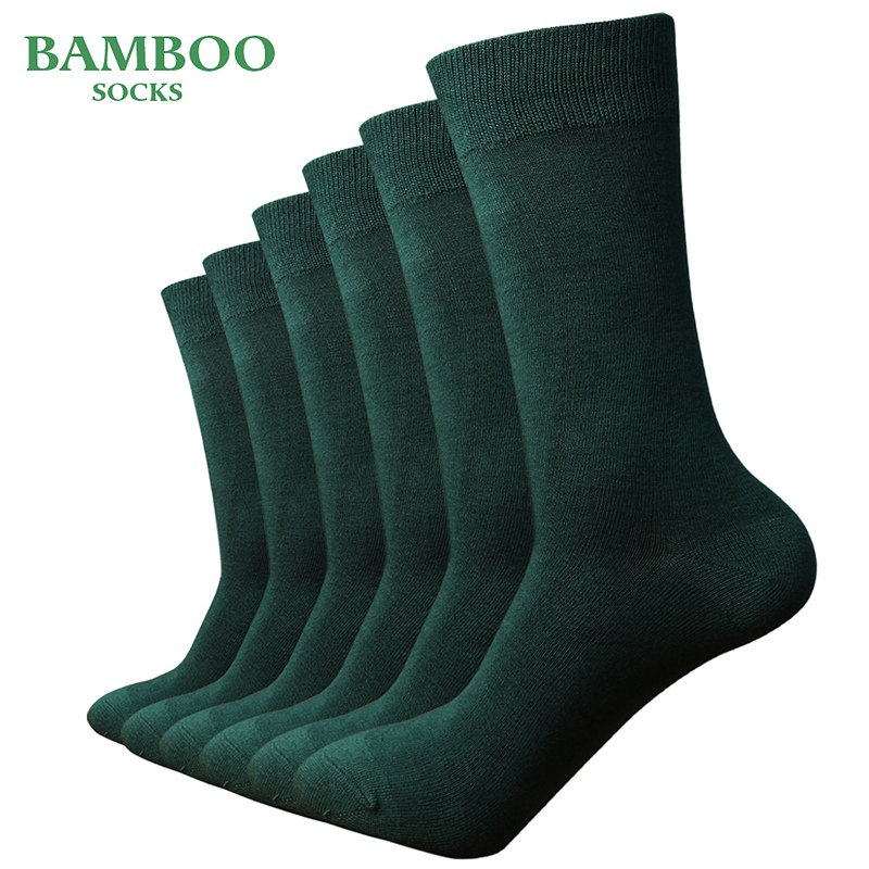 Match-Up  Men Bamboo Green Socks Breathable Anti-Bacterial Man Business Dress Socks (6 Pairs/Lot)