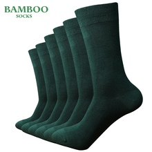 Match Up  Men Bamboo Green Socks Breathable Anti Bacterial man Business Dress Socks (6 Pairs/Lot)