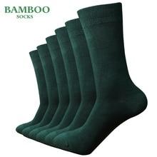 Match Up Men bambusa zielony skarpety oddychające antybakteryjne man biznes sukienka skarpetki (6 par/partia)