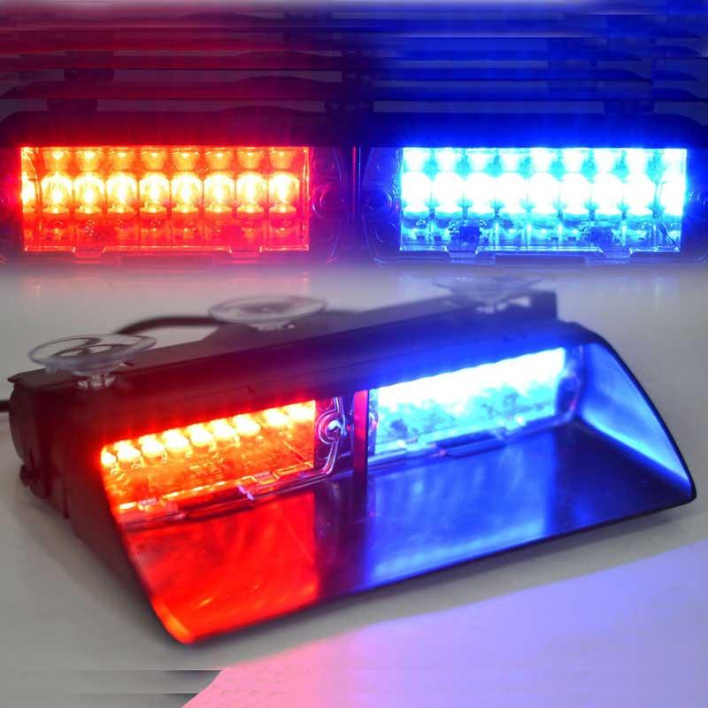 Car AMBER 96W S2  light 16pcs Led car red blue led in dash   police light/police warning light car strobe light 96w s2 us f ederal light 16pcs led car red blue led in dash police light police warning light car strobe light