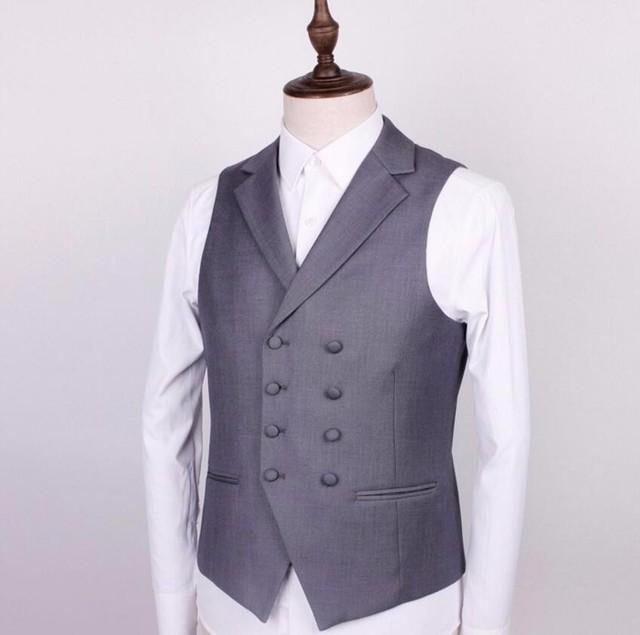 Двубортный мужчины костюм жилет стиль нагрудные pure color chic платье формальный ужин свадьбы жених костюм жилет