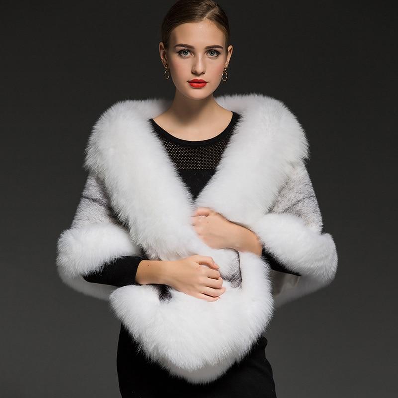 2018 Nouvelle Réel renard fourrure pashmina superluxury mariée fourrure de Vison châle de luxe chaud de fourrure écharpe étole de fourrure