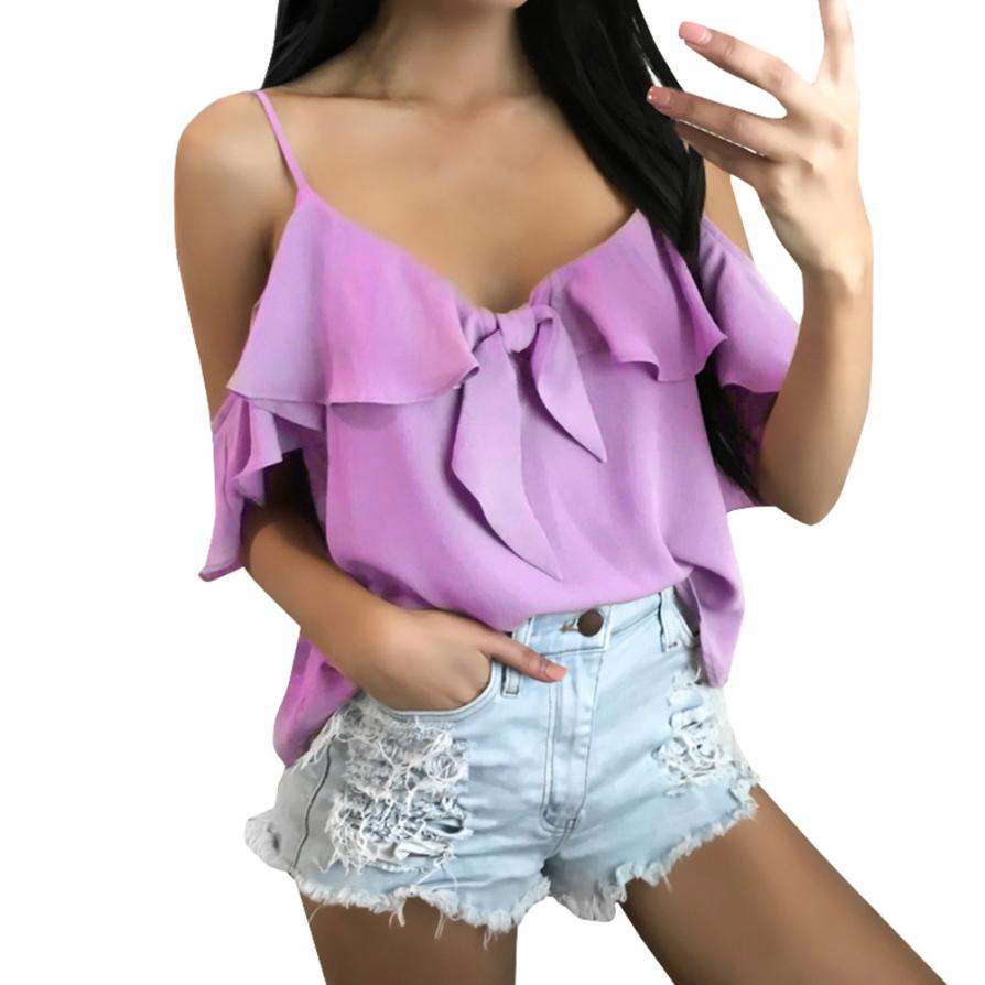 feitong 2018 New Spring Summer Sexy Fashion Womens Ruffles Bow Bandage Chiffon Tops Strapless Camisole shirt clothes