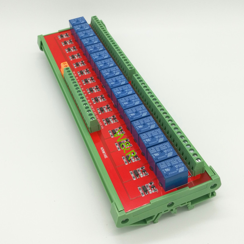 16 Way Intermediate Relay Module, /PLC Expansion Board / Belt Guide Rail / High or Low Trigger 5/12/24V/ Optional