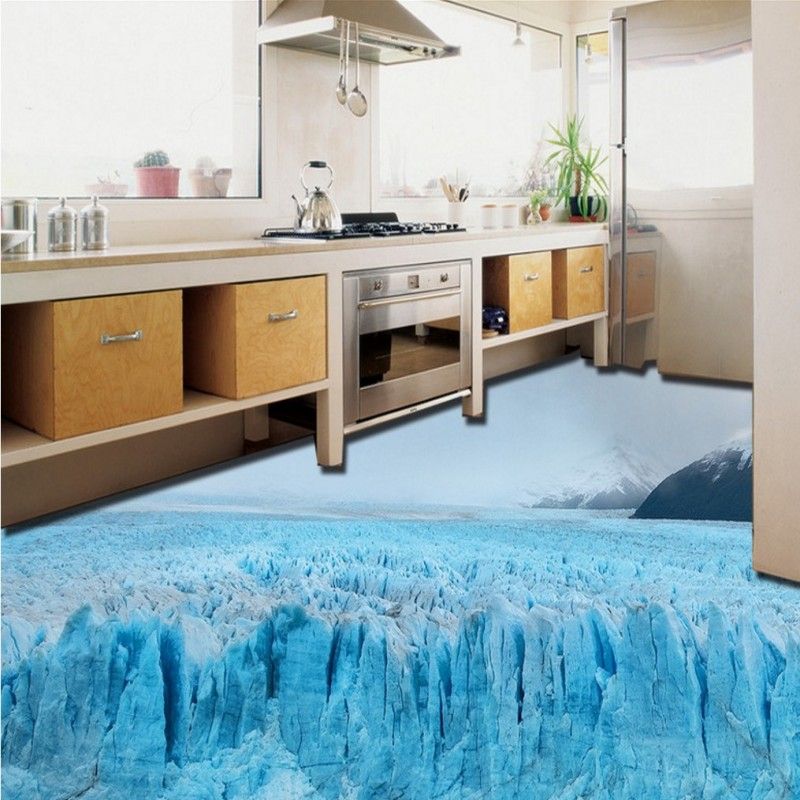 цены Free Shipping 3D outdoor beautiful glacier snow floor painting Self - adhesive custom kitchen corridor wallpaper mural