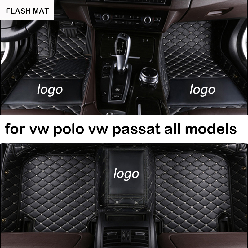 Custom LOGO car floor mats for vw polo accessories vw passat b5 b6 b7 cc golf