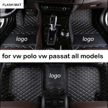 Custom LOGO car floor mats for vw polo accessories passat b5 b6 b7 cc golf touran tiguan jetta auto