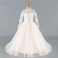 Beige 2018 Flower Girl Dresses For Weddings Ball Gown Tulle Appliques Lace Long Sleeves First Communion Dresses For Little Girls
