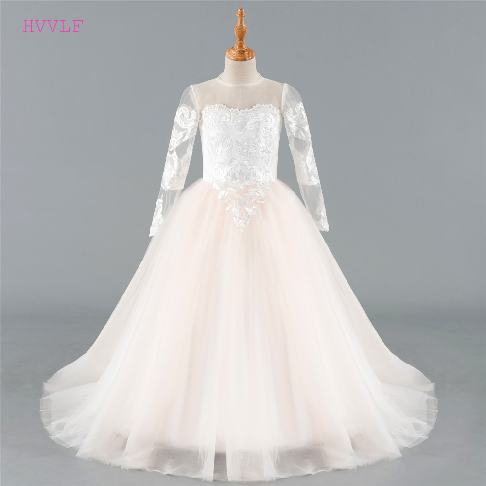 Beige 2019 Flower Girl Dresses For Weddings Ball Gown Tulle Appliques Lace Long Sleeves First Communion Dresses For Little Girls