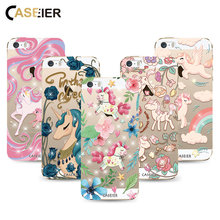CASEIER Soft TPU Phone Case For iPhone 5 5s SE Bling Unicorn Rhinestone Cover For iPhone 5 5s SE Transparent Fundas Capinha(China)