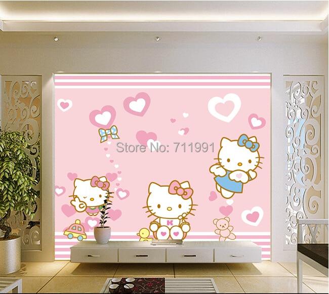 Custom Baby Wallpaper Cute Cartoon Cat Hello Kitty For