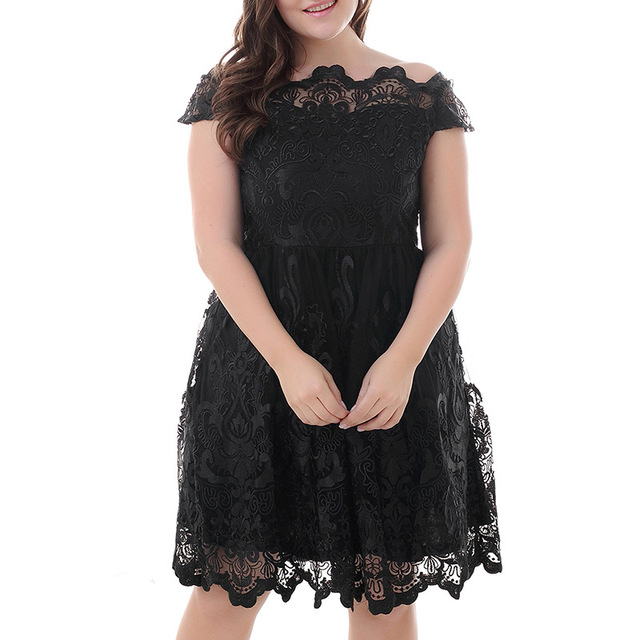 Aliexpress.com : Buy Large Size 7XL 8XL Slash Nech Short Sleeve Women Mesh  Hollow Embroidery Swing Dress Plus Size Dresses For Women 4XL 5XL 6XL from  ...