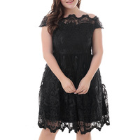 Large Size 7XL 8XL Slash Nech Short Sleeve Women Mesh Hollow Embroidery Swing Dress Plus Size Dresses For Women 4XL 5XL 6XL