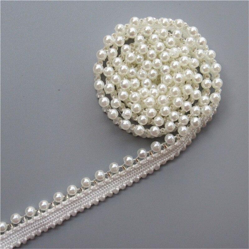 1-10 Meters Pink Flower Chiffon Rhinestone Diamond Lace Trim Ribbon Sewing Craft