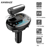 Car Bluetooth Headset FM Transmitter Radio Adapter Bluetooth 4 0 Car Kit Handsfree AUX With Dual