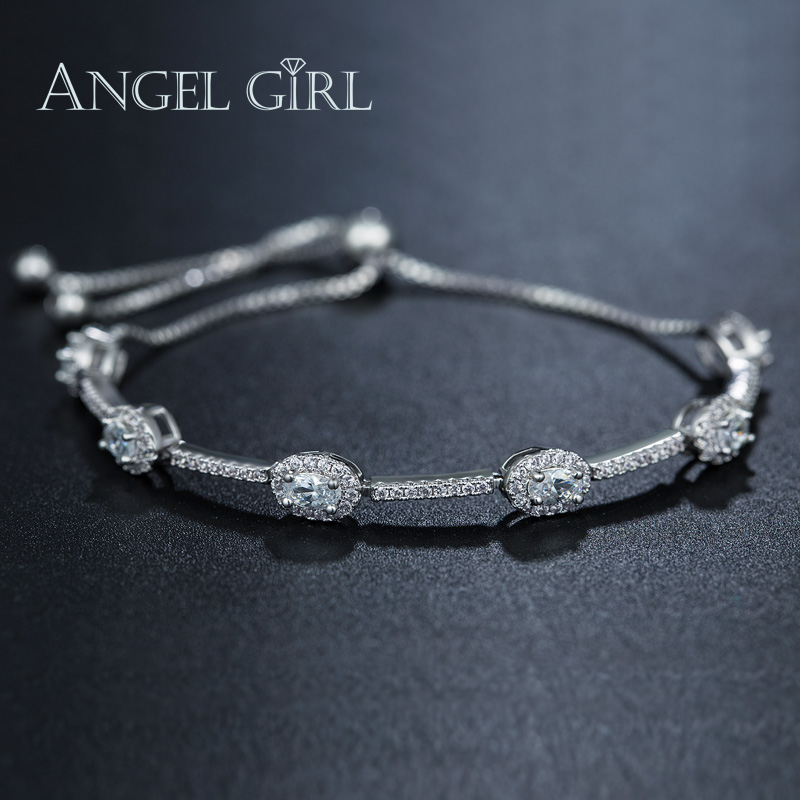 c1ba14376454d1 Della Ragazza di angelo AAA + CZ Oro Bianco di Colore del braccialetto  femme braccialetti &