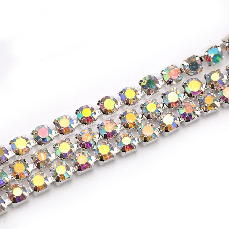 1Yard 10Yards/roll SS6-SS16 Glitter Crystal Rhinestone Chain Sew-On Glue-On For Clothes  DIY Garment Accessories trim Cup Chain 6