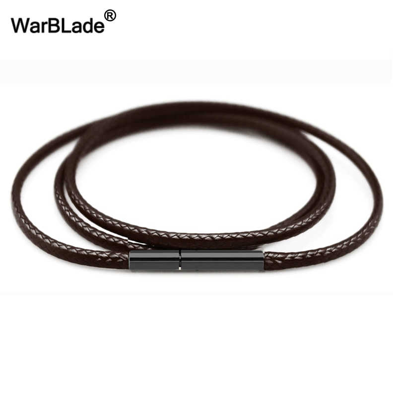 High Quality 1.5mm 2mm 3mm Necklace Cord Leather Cord Wax Rope Chain With Stainless Steel Clasp For DIY Necklace Jewelry Making