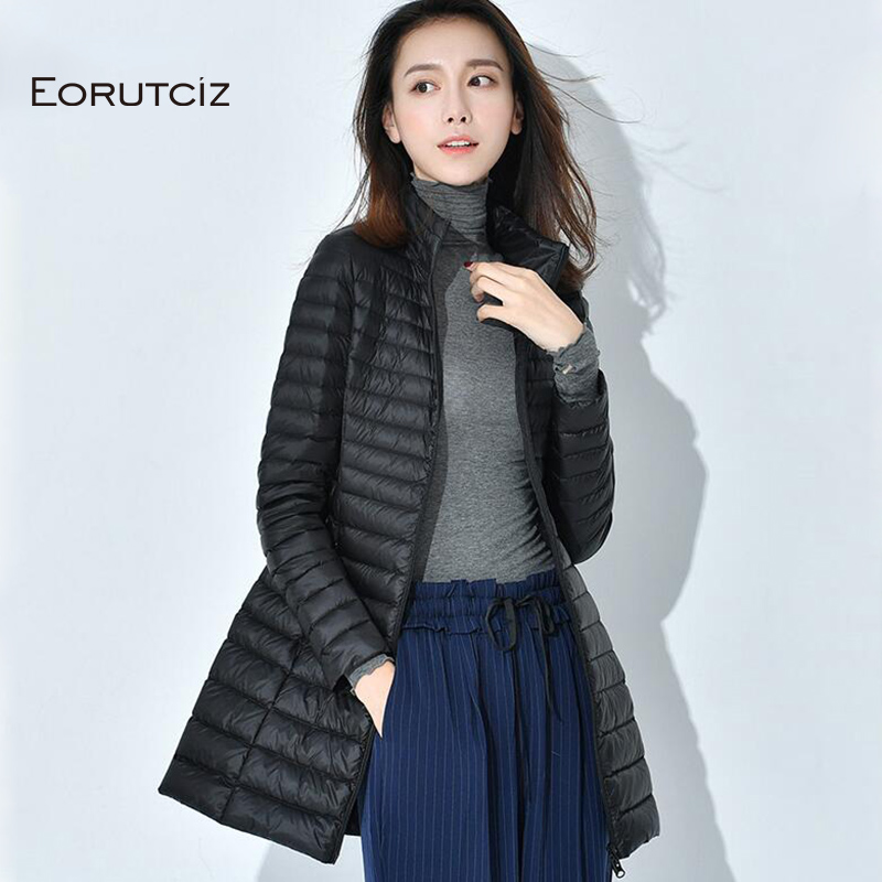 EORUTCIZ Winter Long Down Coat Women Plus Size 4XL Ultra Light Jacket Slim Warm Vintage Black Autumn Duck Down Coat LM184