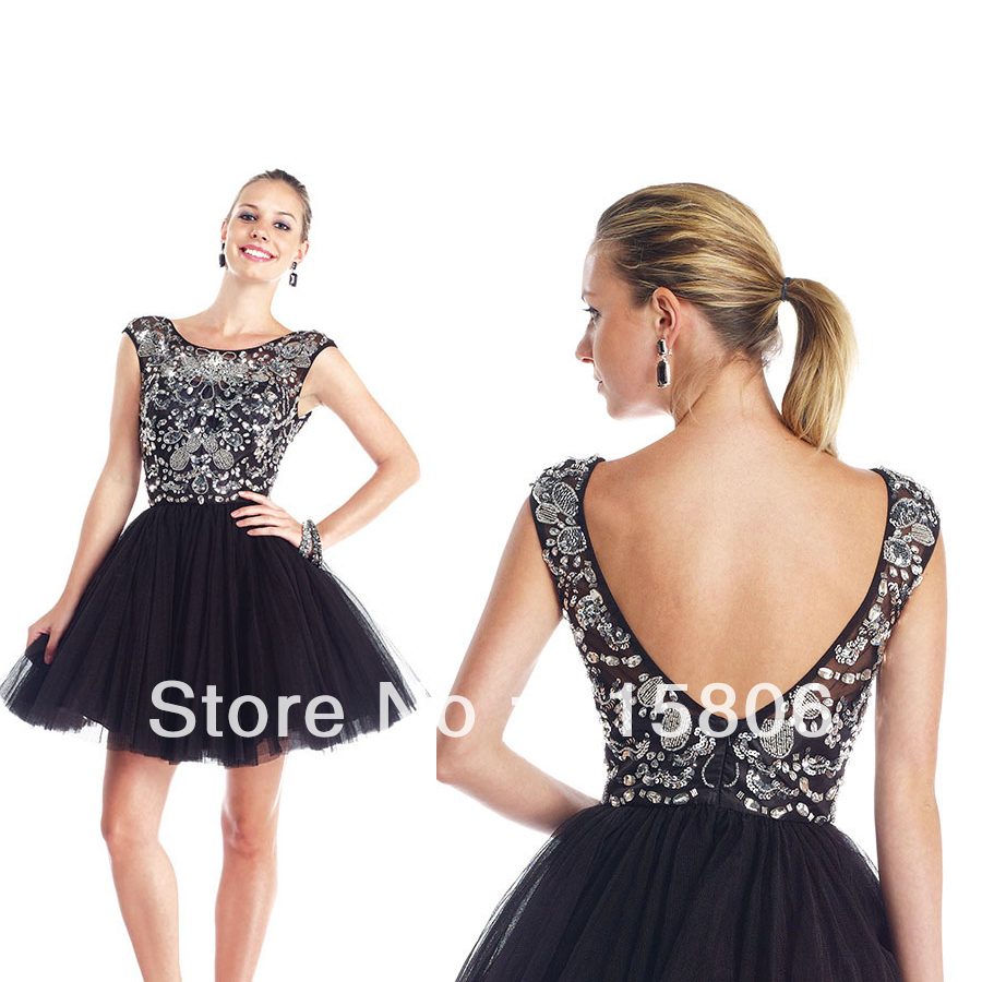 d08c150e616 2014 homecoming dresses new arrival a-line short black prom dresses with  cap sleeves custom made under 100