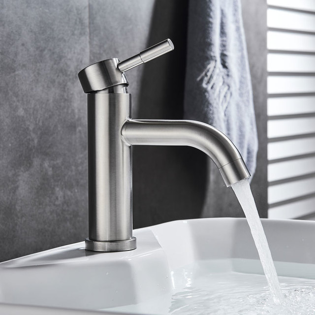 Free Shipping Stainless Steel Paint Faucet Bathroom Basin Faucet Blacked Hot Cold Mixer Tap Single Hole