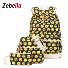 Zebella 3PCS/SET Canvas Travel Bags Women Leisure Smiley Emoji Backpack Purse Printing School Bag for Teenage Girls Mochila 2017