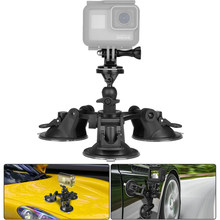 Крепление на присоске для камеры тройной для GoPro sony экшн-камера автомобиля присоска крепление автомобиля монтажный зажим лобовое стекло оконное крепление
