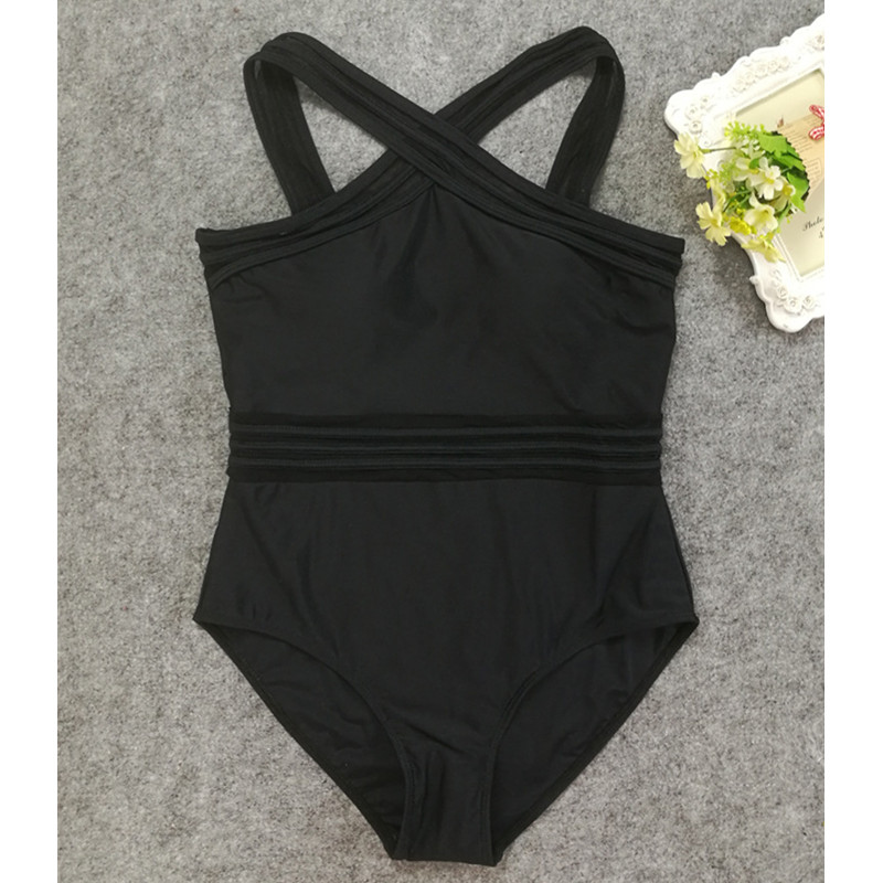 Cross Straps Retro Black <font><b>One</b></font> <font><b>Piece</b></font> <font><b>Swimsuit</b></font> <font><b>Women</b></font> <font><b>Sexy</b></font> Bodysuit Transparent Cutting <font><b>Swimwear</b></font> Female Bathing suit <font><b>2018</b></font> Beachwea image