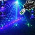 Eshini дистанционный Мини зеленый синий лазерный 16 шаблонный проектор синий светодиодный клубный бар танцевальный диско домашний вечерние св...