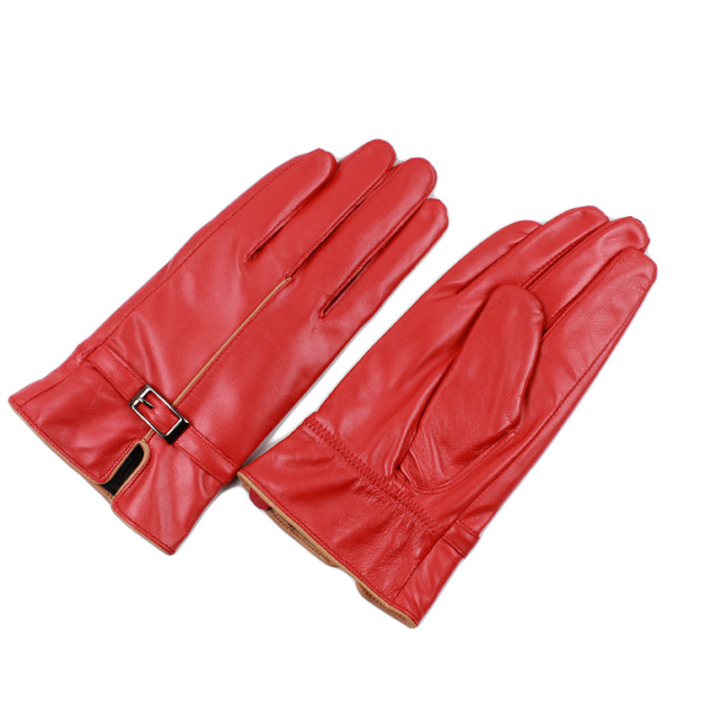 b7feb8620 Elegant Women Genuine Lambskin Leather Gloves Autumn And Winter Thermal Hot  Trendy Female Glove TSR170