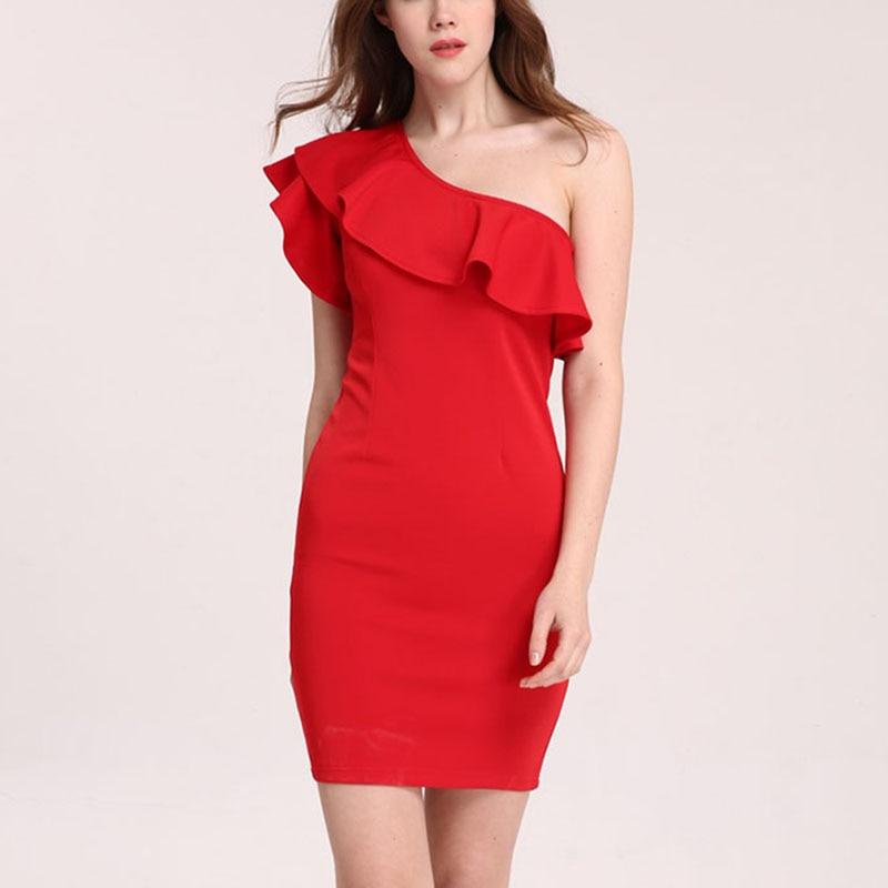 Чудо Красота пикантные Для женщин рукавов одно плечо Bodycon Платья для женщин модные летние элегантные оборки синего, красного, черного цвета ...