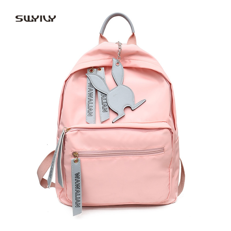 SWYIVY Woman Backbag With Rabbit Pink 2018 Hot Nylon Student Shoulder Bag College Wind Female Quality Backpack Travel