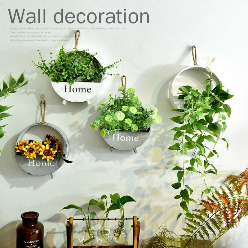 Pastoral retro wooden hanging flower pot flower wall decoration pendant creative hanging flower basket wall decorative wall deco деревянный горшок для цветов