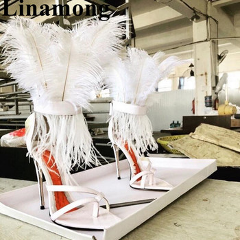2019 Hottest Newest Summer Sexy Thin High Heel And Pointed Toe Feather Decoration Fashjon Top Sell Women Sandals Shoes