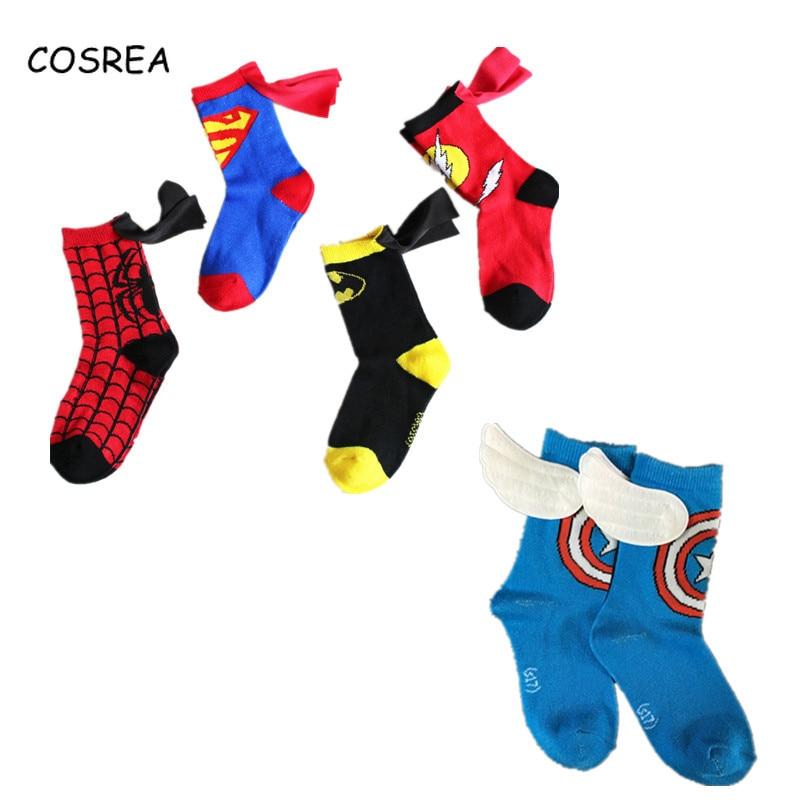 Captain America Superman Batman Spiderman The Flash Socks Kids Sports Football Basketball Superheroes Cosplay Costumes