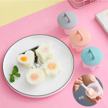 4 Pcs/Set Cute Egg Poacher Plastic Egg Boiler Kitchen Egg Cooker Tools Egg Mold Form Maker With Lid Brush Pancake