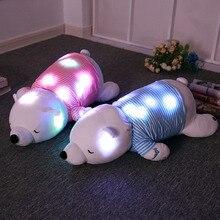 70cm Creative Light Up LED Bluetooth Music Polar Bear Stuffed Animals Plush Toy Colorful Glowing Bear Christmas Gift For Kids