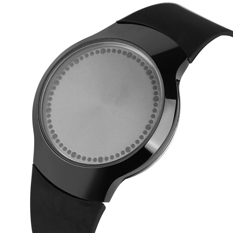 Creative Men Women Digital LED Watch Touch Screen Blue Light Quartz Wristwatch Analog Silicone Band Unqiue Clock Unisex Gift super speed v0169 fashionable silicone band men s quartz analog wrist watch blue 1 x lr626