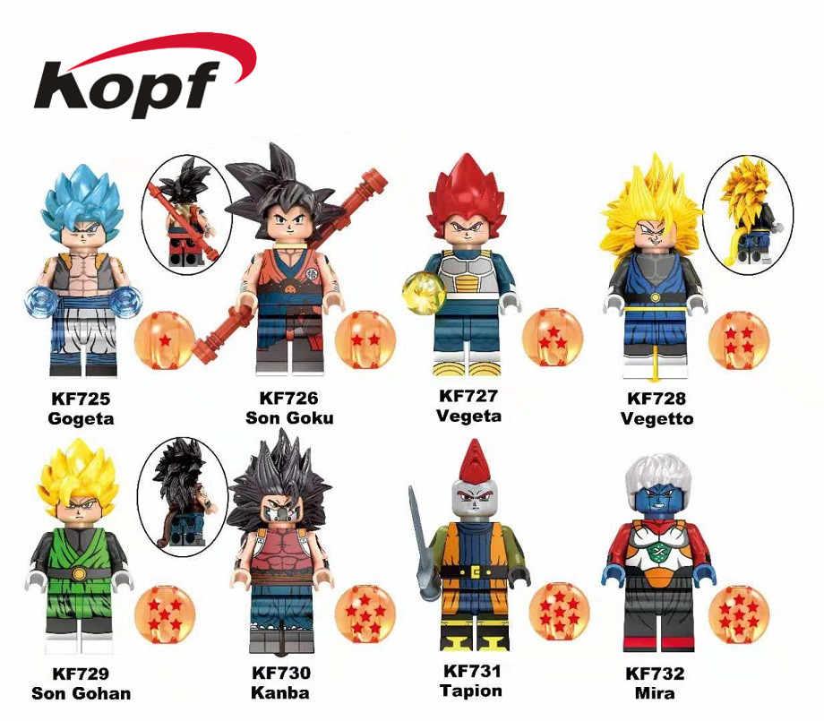 Única Venda de Construção Blocos de Dragon Ball Z Gogeta Son Goku Vegeta Vegetto Mira Son Gohan Figuras Para Crianças Brinquedos Modelo KF6069