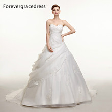 Forevergracedress Vintage Long Wedding Dress New Applique Long Organza With Lace Up Back Bridal Gown Plus Size Custom Made
