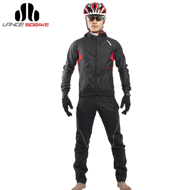 SOBIKE Men's Cycling Bicycle Jacket Sets Bike Cycle Windproof Long Jersey with hood Full Pants Equipment Clothing Suit Equipment