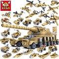 544 unids Marca Compatible Serie Army 16 en 1 Super Fire Conjunto Del Tanque de Juguete Bloques de Construcción Pequeñas Partículas de Transformación niños