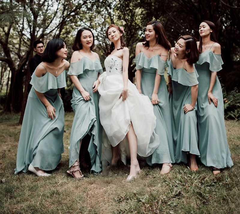 305f9f671d Detail Feedback Questions about Elegant Dark Sage Bridesmaid Dresses Long  Chiffon Dress A line Ruffle 2019 For Wedding Party Guest Dress Boho Beach  ...
