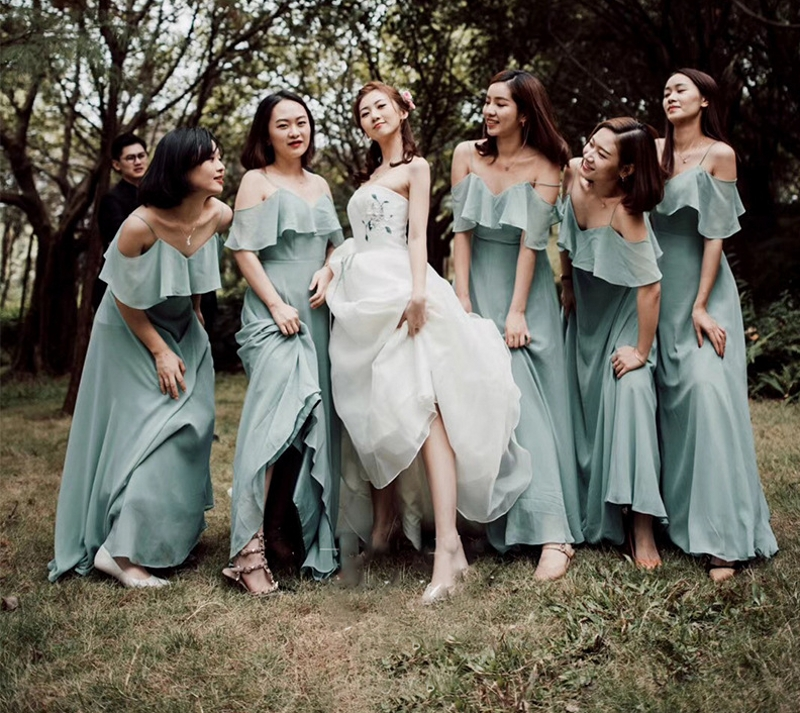 Elegant Dark Sage   Bridesmaid     Dresses   Long Chiffon   Dress   A-line Ruffle 2019 For Wedding Party Guest   Dress   Boho Beach Vestiodos