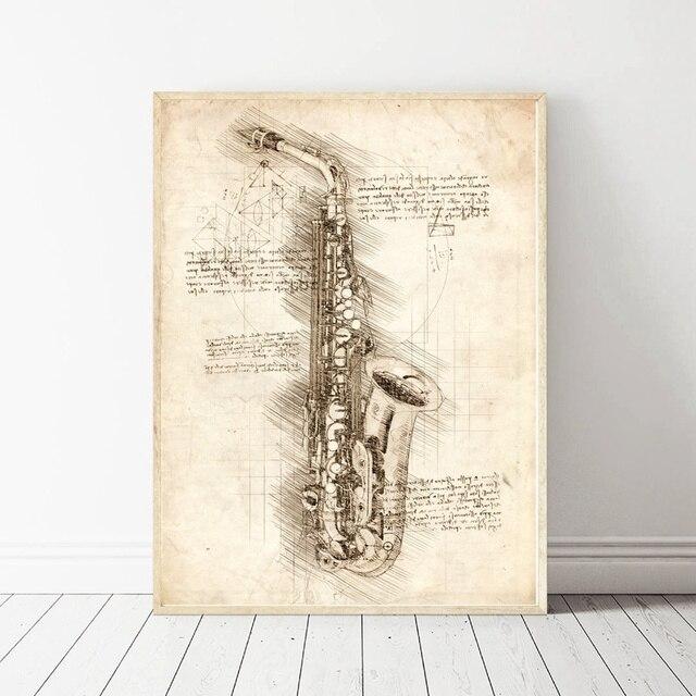 Da Vinci Inspired Sketches Saxophone Art Oil Painting Poster Prints ...