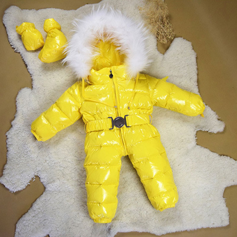 Mioigee Winter New born Baby Clothes Conjoined Down Jacket Baby Boys Girls Thickening Jumpsuits with Real Fur Kids Snow Suit children winter coats jacket baby boys warm outerwear thickening outdoors kids snow proof coat parkas cotton padded clothes