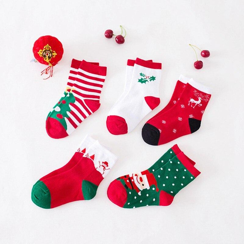 Cotton Short Socks For Baby Children 1 Pair Spring Autumn Winter Kids Socks Christmas Tree Santa Claus Dear Snowman Random Color