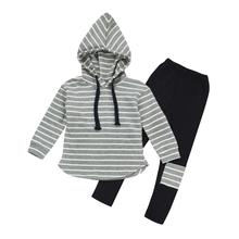 spring autumn new fashion baby boys girls stripe hoodies sport suit Children clothing set toddler casual kids tracksuit set