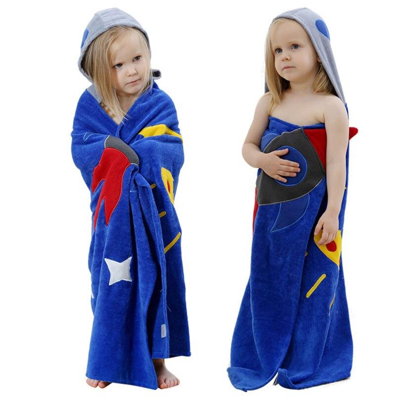 100% Baumwolle Bademantel Baby Bademantel Jungen Mädchen Tiefblauen Cartoon Tier Kapuze Badetuch Pyjamas Homewear Kleidung Ändern Pads Weitere Rabatte üBerraschungen